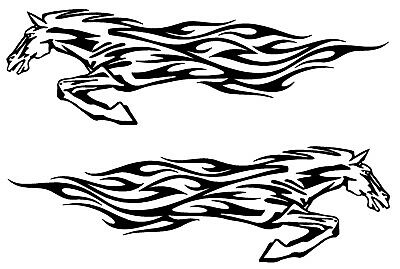 2 Running Horse Stickers for Truck Horse Trailer Vinyl Decal Stickers 8x48