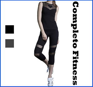 Completo sportivo donna fitness canotta leggings sport running palestra leggins