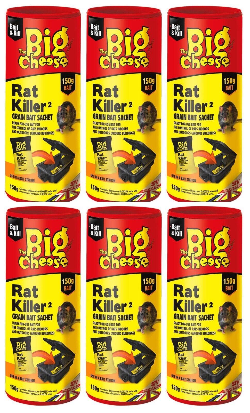 6X Rata Asesino Grano Cebo 150g The Big Cheese Bolsita para Trampa