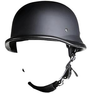German Novelty Half Helmet Skull Cap Matte Flat Black Harley S M L XL 2XL