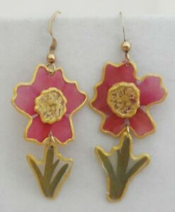 Vintage-Pressed-Flower-amp-Stems-Earrings-Real-Pink-Green-Botanical-Resin-Dangles