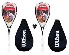 2 x Ripper WILSON BLX Squash RACCHETTE + 3 DUNLOP Pro Squash Palle RRP £ 340
