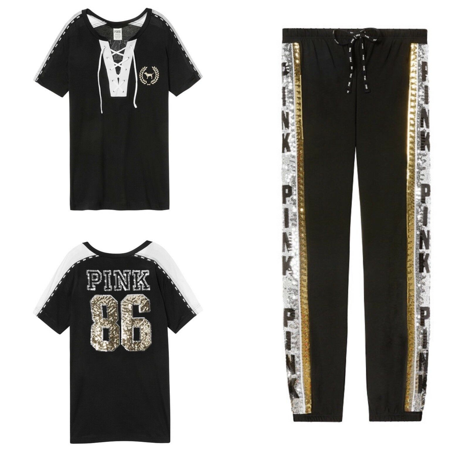 Victoria Secret PINK Bling Campus Lace-up Tee & Sequin Bling Classic Pants L