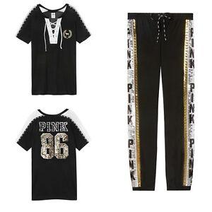 e9d2494a3b3a8 Details about Victoria Secret PINK Bling Campus Lace-up Tee & Sequin Bling  Classic Pants L