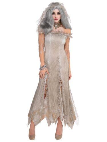 Adults Womans Ladies Undead Zombie Bride Halloween Horror Fancy Dress Costume