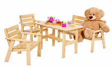 Kinder Gartengarnitur Sitzgruppe aus Holz 4 tlg Kiefer natur NEU ovp 864412