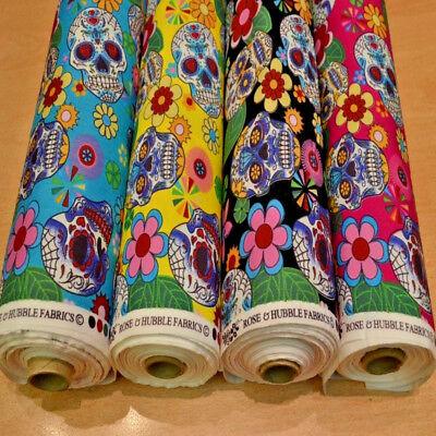 100/% Cotton Poplin Fabric Rose /& Hubble Skulls /& Roses Halloween Spooky