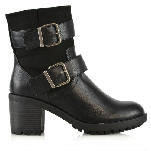 Booties Womens Ladies Ankle Heel Low Boots Mid Size Cleated Sole Strap Buckle TqxgqXwfWr