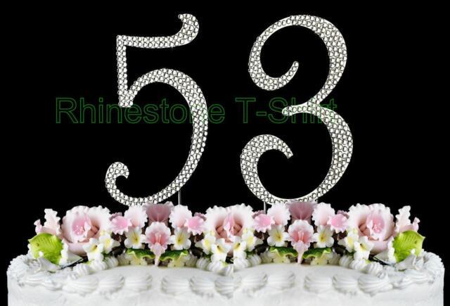 Cake Topper 53th Birthday Wedding Party Anniversary Large Rhinestone NUMBER 53
