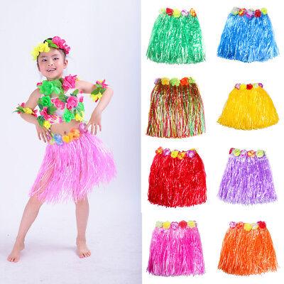 UK/_ KIDS GIRLS HAWAIIAN HULA GRASS FLOWER SKIRT DANCING PARTY BEACH COSTUME NICE