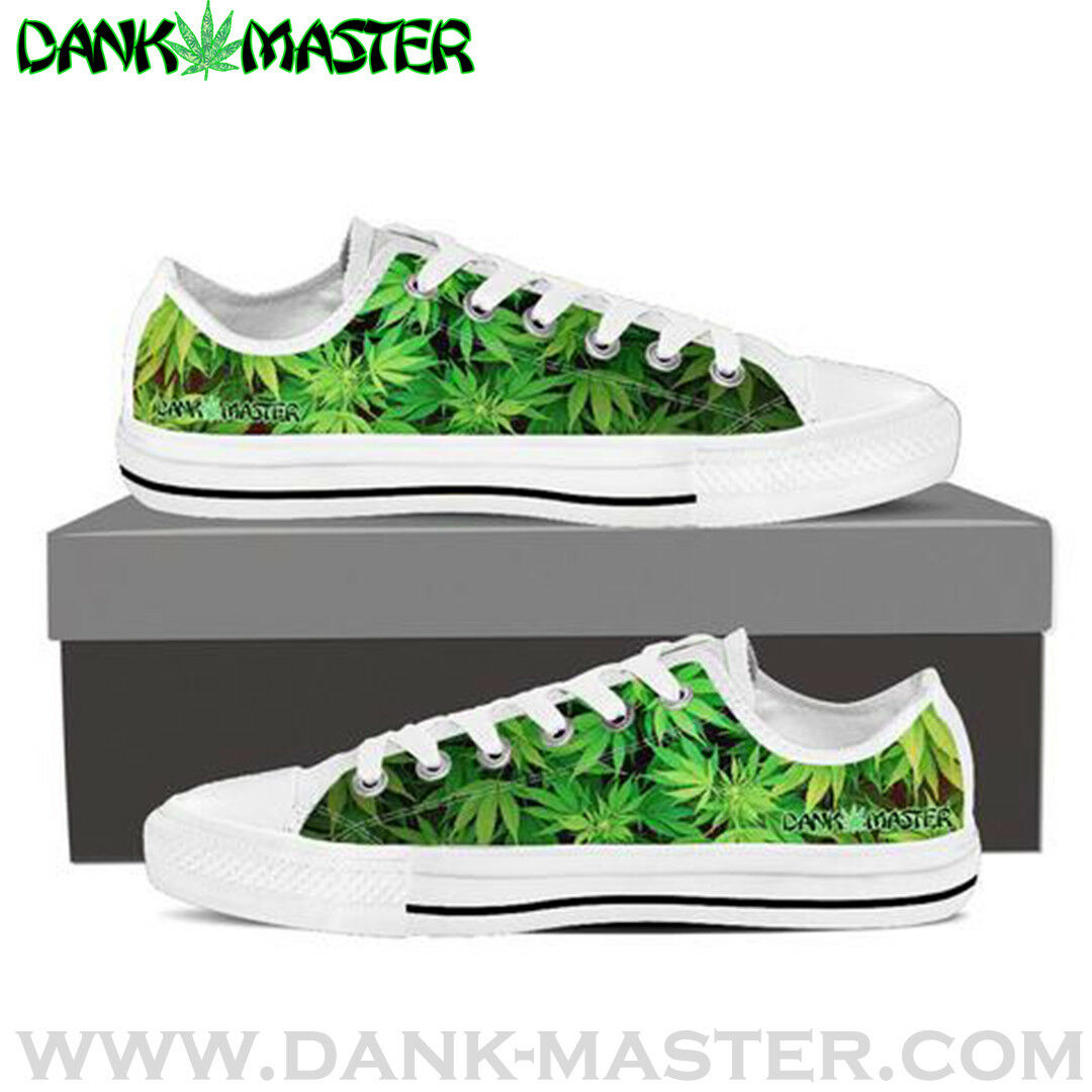 Dank Master Damens Schuhes custom green weed marijuana cannabis low top sneakers
