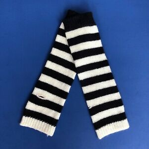 80s-90s-Gothic-Horror-Punk-Rock-Emo-Black-White-Stripe-Knit-Arm-Warmer-Armwarmer