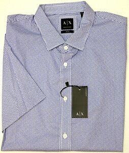 NWT-75-Armani-Exchange-Blue-Geometric-Short-Sleeve-Regular-Fit-Mens-Size-XL-NEW
