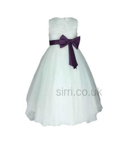 Fleur filles robe de soirée avec nœud en satin filles mariage demoiselle d/'honneur robes