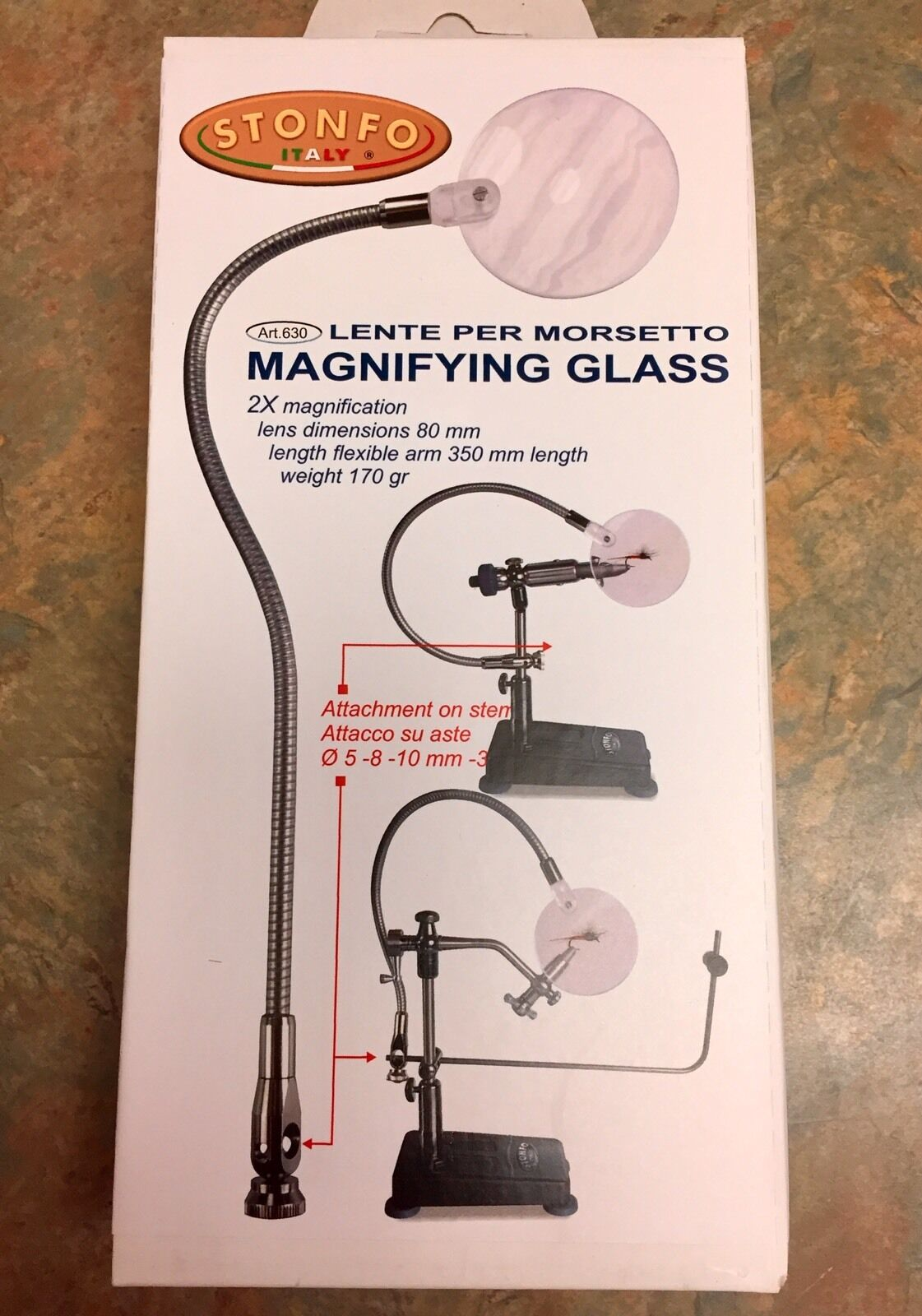 STONFO MAGNIFYING GLASS. FLEX ARM ATTACHES TO VISE STEM. FLY TYING TOOL. NEW