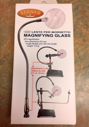 STONFO MAGNIFYING GLASS FLY TYING TOOL NEW FLEX ARM ATTACHES TO VISE STEM