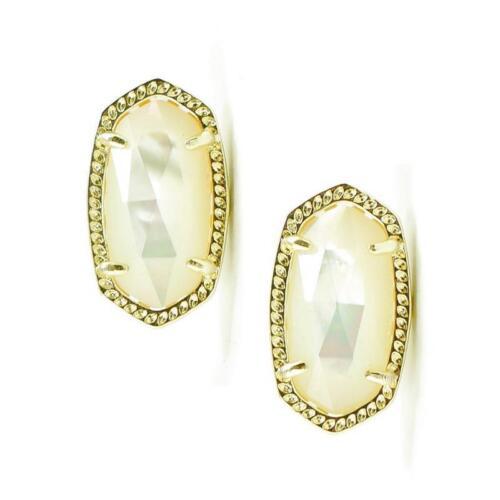 NWOT Kendra Scott Ellie Ivory Pearl Stud Earrings Gold June
