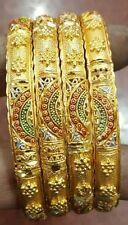 INDIAN TRADITIONAL 4 PCS GOLD TONE PARTY WEAR KADA SCREW BANGLES BRIDAL JEWELRY