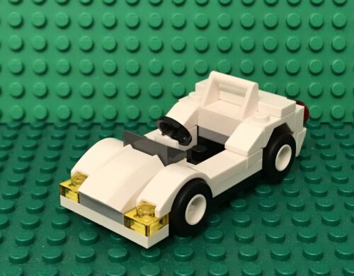 Vehicle With Odometer,license Plate Lego Prebuilt MOC White Sports Race Car