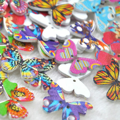 50Pcs Mix Wood Buttons Butterfly DIY Craft Scrapbook Sewing Appliques WB175
