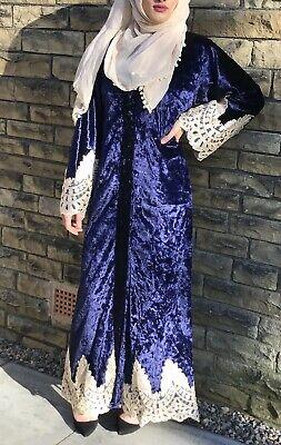 Ladies Abaya Velvet Chest Panel Robe Farasha//Maxi-Dress//Kaftan//Jilbab//Jubba.BURK