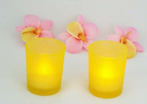 24 Yellow Frosted Glass Tea Light Candle Holders Wedding Event Party 6.5cm High