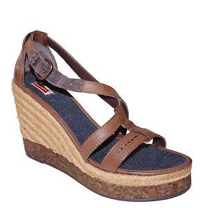 2a022b86b Details about LEVI'S shoes nu pied talon compensé femme ROPE CORK WEDGE  taille 40