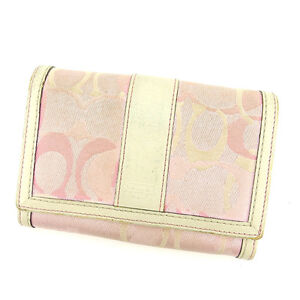 Coach-Wallet-Purse-zipper-wallet-Signature-Pink-White-Woman-Authentic-Used-S459