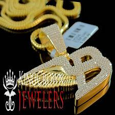 10K Yellow Gold Silver Bentley Flying B Symbol Simu Diamond Pendant Chain 1.5''