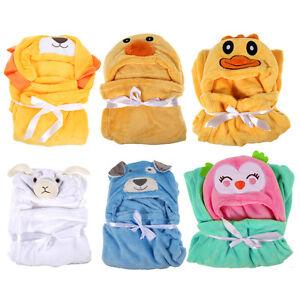 Cute-Warm-Cartoon-Flannel-Baby-Kid-039-s-Hooded-Bath-Towel-Toddler-Blanket-Baby
