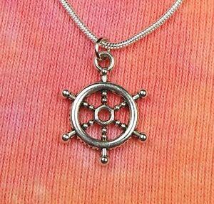 Ships wheel necklace 16 36 inch silver dharmachakra buddha image is loading ships wheel necklace 16 034 36 034 inch aloadofball Choice Image