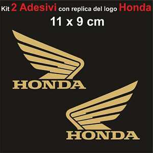 Kit-2-Adesivi-Honda-Moto-Stickers-Adesivo-11-x-9-cm-decalcomania-ORO