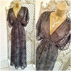 RIVER ISLAND 💋 UK 8 Sheer Grey Animal Print Bohemian Maxi Dress ~Free P&P~