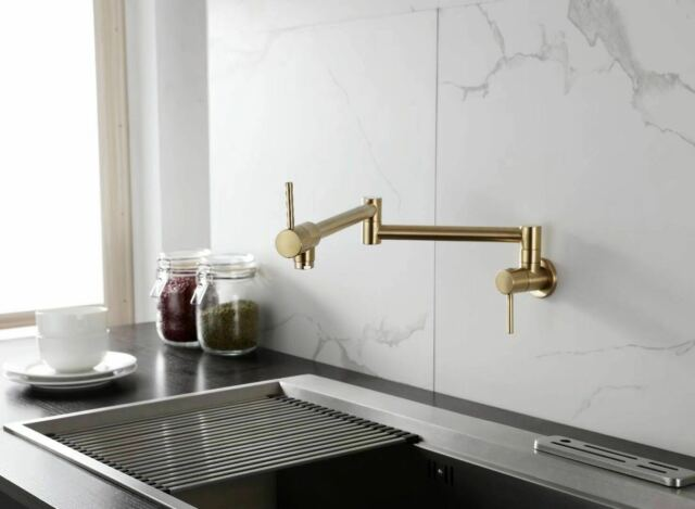 Brass Pot Filler Faucet Wall-Mounted Kitchen Faucet Single Cold Brushed  Gold Tap