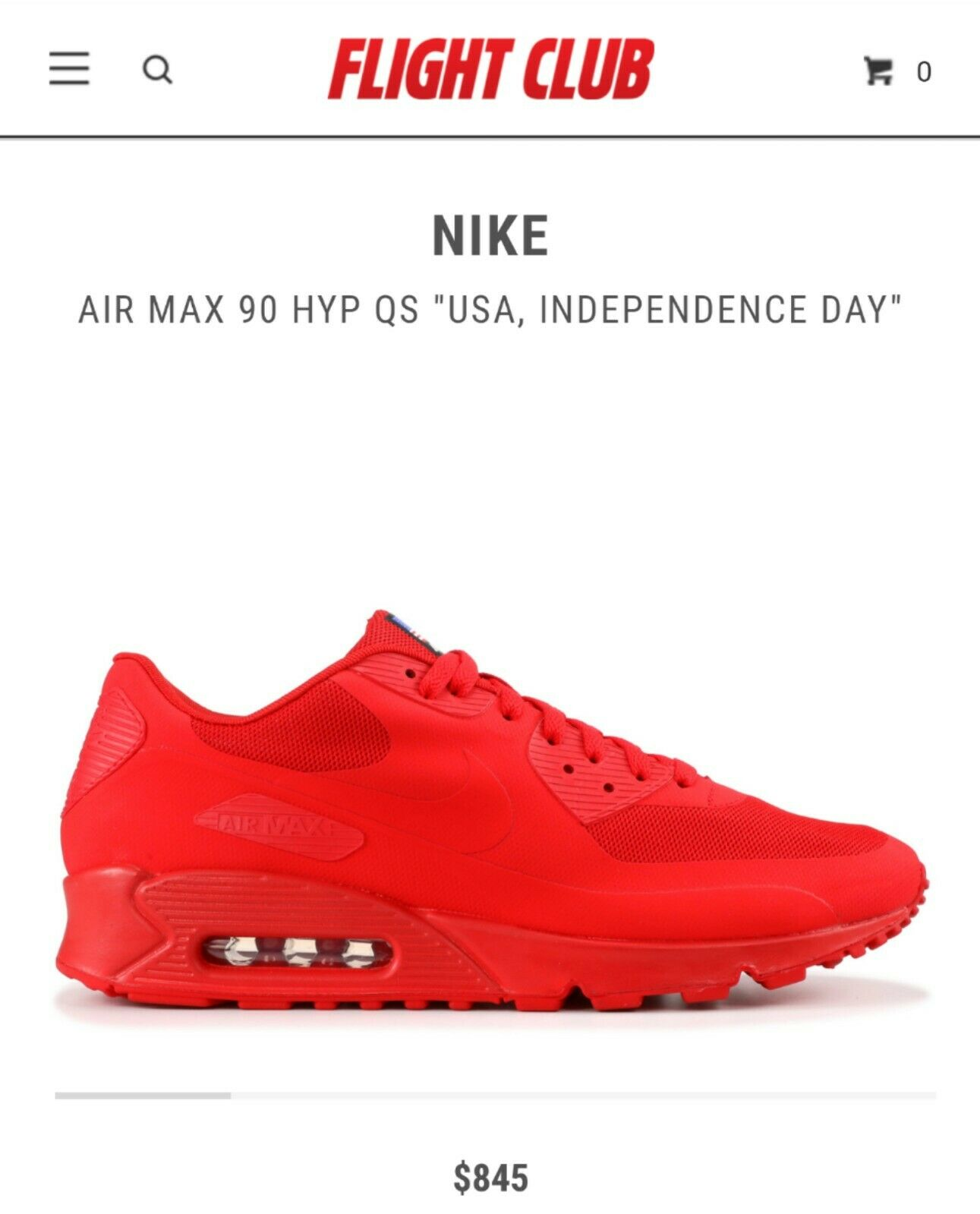 Nike Air Max 90 Hyperfuse Independence Day Sz 9.5