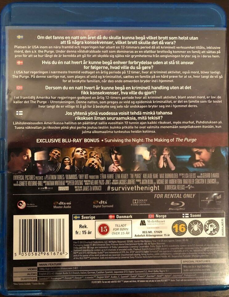 THE PURGE, Blu-ray, gyser