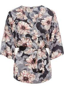 new product 990f4 d8307 Details zu Kimono-Blusenjacke m Gürtel Gr. 44 Rosa Grau Damen Blusen-Jack  Shirt Tunika Neu
