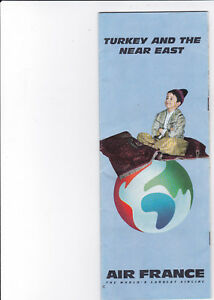 Details about AIR FRANCE Airlines Route Map Booklet , Turkey and The Near  East