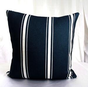 Striped Navy Blue White Pattern Throw Decor Cushion Cover Pillow