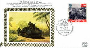 22 JUNE 1994 VICTORY AT IMPHAL 22ct GOLD BENHAM SILK COMMEMORATIVE COVER