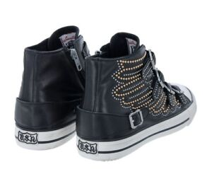 Ash-Brand-Women-039-s-verso-Haut-Top-Chaussures-En-Cuir-Baskets-noir-clous-ailes-NEUF