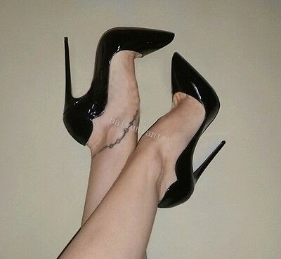 Ladies Pointy Toe High Heels Stilettos Patent Leather Sexy Nightclub Shoes Pumps
