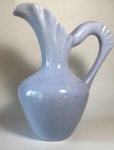 Vintage Art Deco Gonder Art Pottery Pitcher USA Pale Blue Mid Century Retro