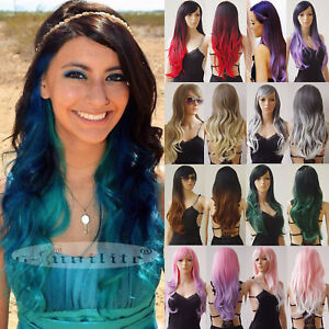 Details about Fashion Women Full Wig Glueless Pastel Omnre Dyeing Synthetic  Hair Black Green