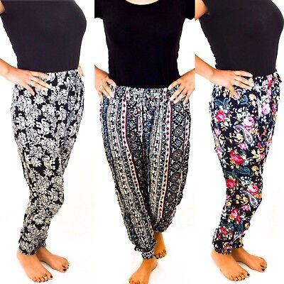 Ladies Harem Pants Trousers Ali Baba Baggy Boho Hareem Designs Size 8 10 12 14