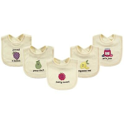 TOUCHED BY NATURE 100/% Organic Cotton Unisex Baby Fun Saying Appliqued Bibs x 5
