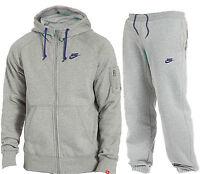 Mens Fleece Grey Foundation Nike Full Tracksuit Hooded Joggers S - Xl