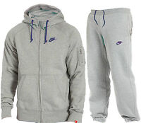Mens Fleece Grey Foundation Nike Full Tracksuit Hooded Joggers S - Xl