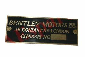 Bentley Motors 1931 Chassis Number Data Plate Brass Vintage Bentley Cars S2u