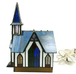 Vintage Tiffany Style Stained Glass Church Night Light Table Lamp Blue 1997